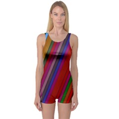 Color Stripes Pattern One Piece Boyleg Swimsuit