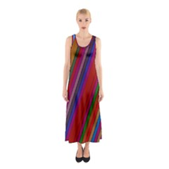 Color Stripes Pattern Sleeveless Maxi Dress