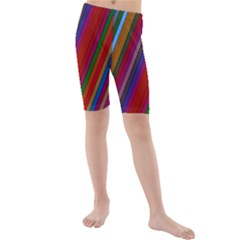 Color Stripes Pattern Kids  Mid Length Swim Shorts