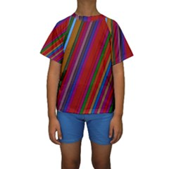 Color Stripes Pattern Kids  Short Sleeve Swimwear