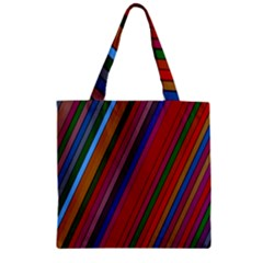 Color Stripes Pattern Zipper Grocery Tote Bag