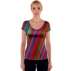 Color Stripes Pattern Women s V-Neck Cap Sleeve Top