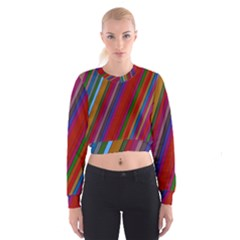 Color Stripes Pattern Women s Cropped Sweatshirt