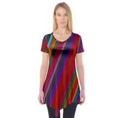 Color Stripes Pattern Short Sleeve Tunic