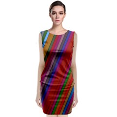 Color Stripes Pattern Classic Sleeveless Midi Dress