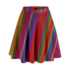 Color Stripes Pattern High Waist Skirt