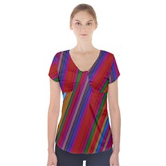 Color Stripes Pattern Short Sleeve Front Detail Top