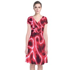 Pattern Background Abstract Short Sleeve Front Wrap Dress