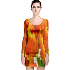 Mosaic Glass Colorful Color Long Sleeve Bodycon Dress