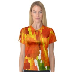 Mosaic Glass Colorful Color Women s V-Neck Sport Mesh Tee