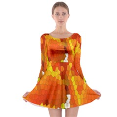 Mosaic Glass Colorful Color Long Sleeve Skater Dress