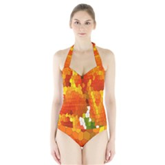 Mosaic Glass Colorful Color Halter Swimsuit