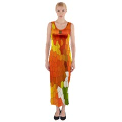 Mosaic Glass Colorful Color Fitted Maxi Dress