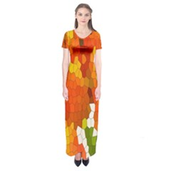 Mosaic Glass Colorful Color Short Sleeve Maxi Dress