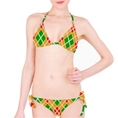 Colorful Color Pattern Diamonds Bikini Set