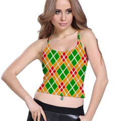 Colorful Color Pattern Diamonds Spaghetti Strap Bra Top