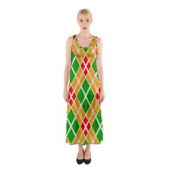 Colorful Color Pattern Diamonds Sleeveless Maxi Dress