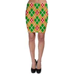 Colorful Color Pattern Diamonds Bodycon Skirt