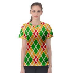 Colorful Color Pattern Diamonds Women s Sport Mesh Tee