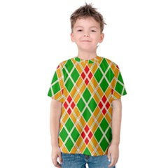 Colorful Color Pattern Diamonds Kids  Cotton Tee