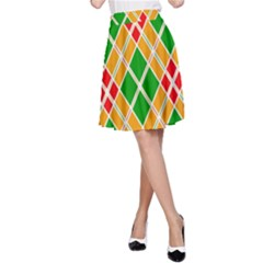 Colorful Color Pattern Diamonds A Line Skirt