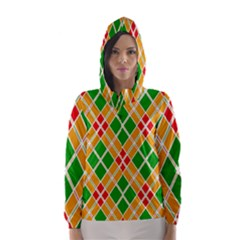 Colorful Color Pattern Diamonds Hooded Wind Breaker (Women)