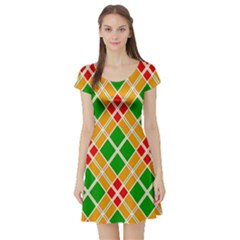 Colorful Color Pattern Diamonds Short Sleeve Skater Dress