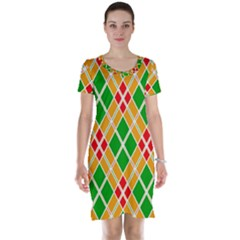 Colorful Color Pattern Diamonds Short Sleeve Nightdress