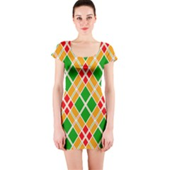 Colorful Color Pattern Diamonds Short Sleeve Bodycon Dress