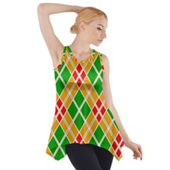 Colorful Color Pattern Diamonds Side Drop Tank Tunic