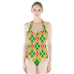 Colorful Color Pattern Diamonds Halter Swimsuit