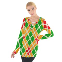 Colorful Color Pattern Diamonds Women s Tie Up Tee