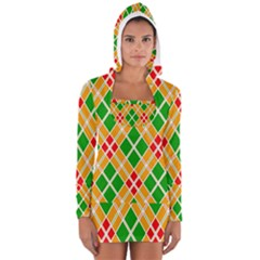Colorful Color Pattern Diamonds Women s Long Sleeve Hooded T-shirt