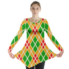 Colorful Color Pattern Diamonds Long Sleeve Tunic