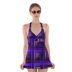 Background Texture Pattern Color Halter Swimsuit Dress