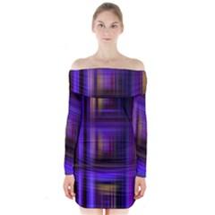 Background Texture Pattern Color Long Sleeve Off Shoulder Dress