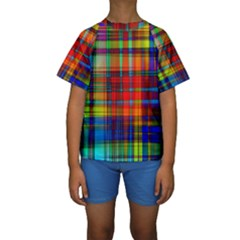 Abstract Color Background Form Kids  Short Sleeve Swimwear