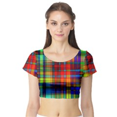 Abstract Color Background Form Short Sleeve Crop Top (Tight Fit)