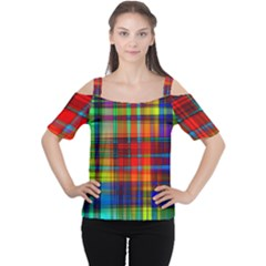 Abstract Color Background Form Women s Cutout Shoulder Tee