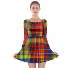 Abstract Color Background Form Long Sleeve Skater Dress