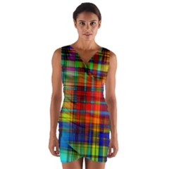 Abstract Color Background Form Wrap Front Bodycon Dress