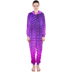 Pattern Light Color Structure Hooded Jumpsuit (Ladies)