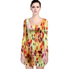 Background Color Pattern Abstract Long Sleeve Bodycon Dress