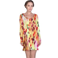 Background Color Pattern Abstract Long Sleeve Nightdress