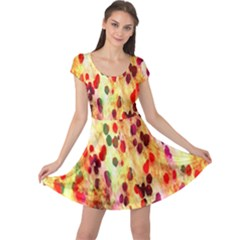 Background Color Pattern Abstract Cap Sleeve Dresses