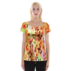 Background Color Pattern Abstract Women s Cap Sleeve Top