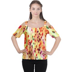 Background Color Pattern Abstract Women s Cutout Shoulder Tee