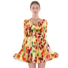 Background Color Pattern Abstract Long Sleeve Skater Dress