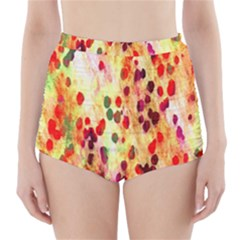 Background Color Pattern Abstract High-Waisted Bikini Bottoms