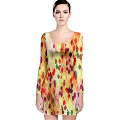 Background Color Pattern Abstract Long Sleeve Velvet Bodycon Dress